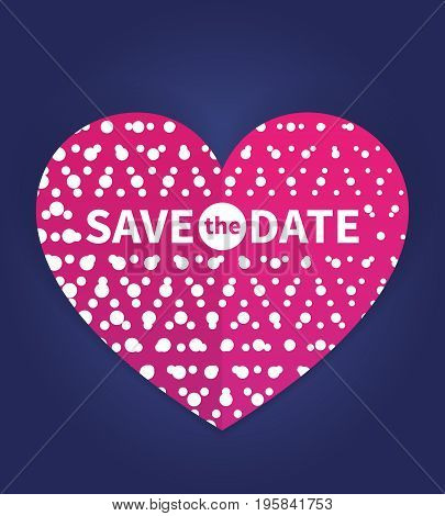 Save the date card template, wedding invitation with text on heart