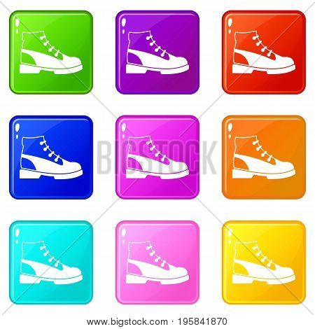Men oxfords icons of 9 color set isolated vector illustration