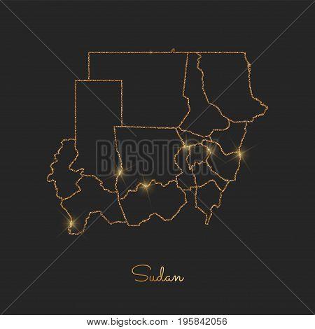Sudan Region Map: Golden Glitter Outline With Sparkling Stars On Dark Background. Detailed Map Of Su