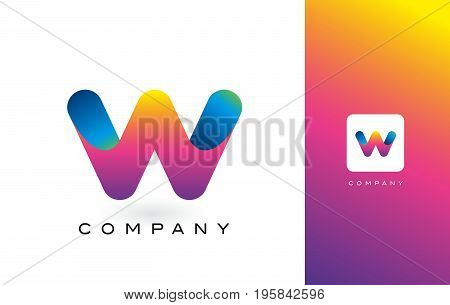 W Logo Letter With Rainbow Vibrant Beautiful Colors.w Colorful Trendy Letters Purple And Magenta Log