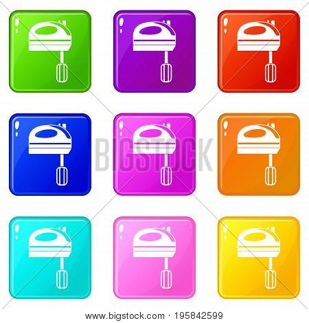 Mixer icons of 9 color set isolated vector illustration