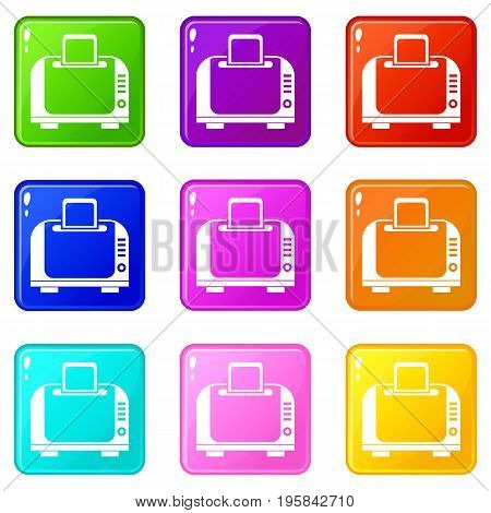 Toaster icons of 9 color set isolated vector illustration