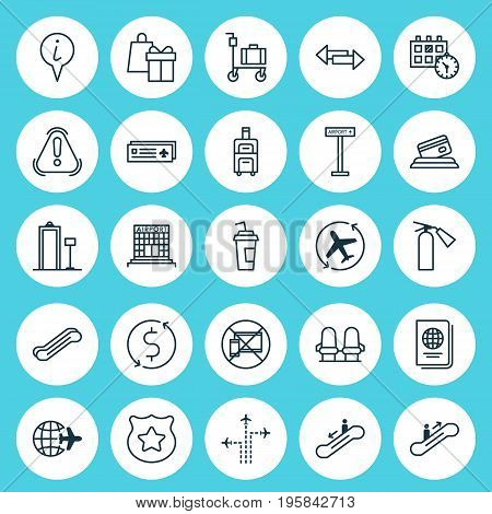 Airport Icons Set. Collection Of Crossroad, Armchair, Worldwide Flight And Other Elements