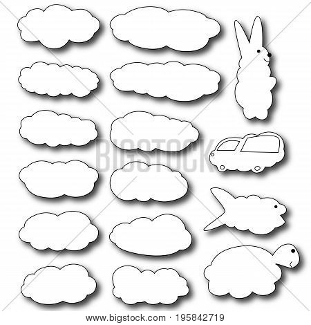 Set of clouds. Clouds in the form of animals. Clouds in the cartoon style