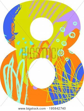 Vector illustration of a number eight with abstract pattern. Birthday card.