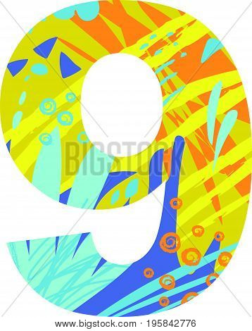 Vector illustration of a number nine with abstract pattern. Birthday card.