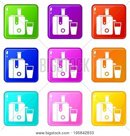 Juicer icons of 9 color set isolated vector illustration