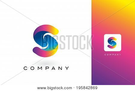 S Logo Letter With Rainbow Vibrant Beautiful Colors.s Colorful Trendy Letters Purple And Magenta Log