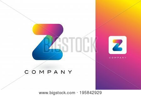 Z Logo Letter With Rainbow Vibrant Beautiful Colors.z Colorful Trendy Letters Purple And Magenta Log