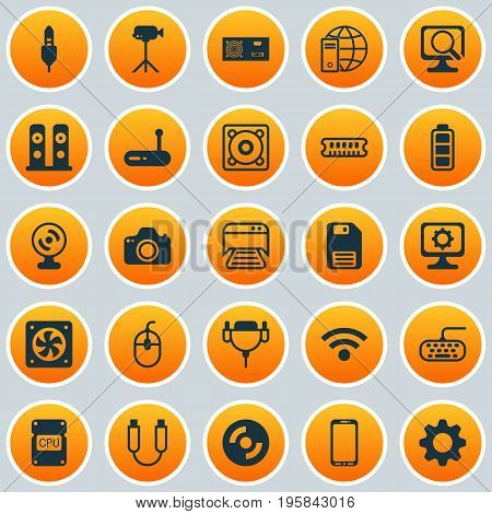 Hardware Icons Set. Collection Of Power Generator, Loudspeakers, Aux Cord And Other Elements