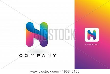 N Logo Letter With Rainbow Vibrant Beautiful Colors.n Colorful Trendy Letters Purple And Magenta Log
