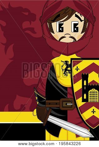 Cute Cartoon Medieval Crusader Knight  with Sword and Castle Shield