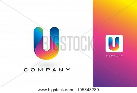 U Logo Letter With Rainbow Vibrant Beautiful Colors.u Colorful Trendy Letters Purple And Magenta Log