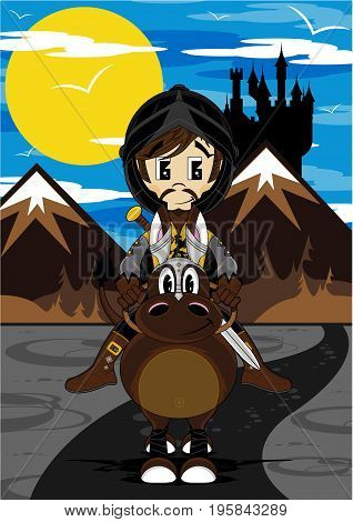 Cute Cartoon Medieval Crusader Knight on Horse with Castle Background