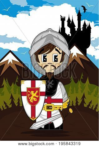 Cute Cartoon Medieval Crusader Knight with Castle Background