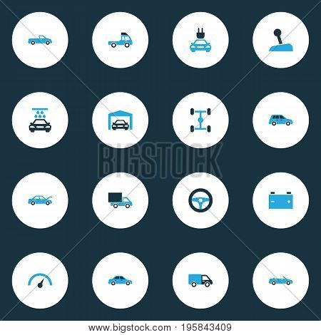Auto Colorful Icons Set. Collection Of Vehicle Wash, Auto Hood, Pickup And Other Elements