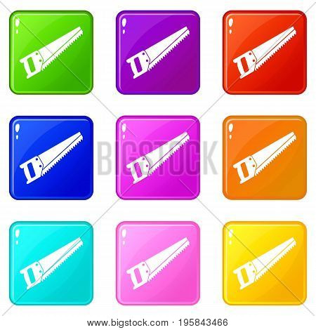 Saw icons of 9 color set isolated vector illustration