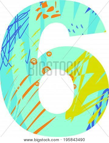 Vector illustration of a number six with abstract pattern. Birthday card.