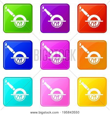 Circular saw icons of 9 color set isolated vector illustration