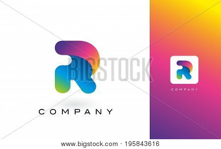 R Logo Letter With Rainbow Vibrant Beautiful Colors.r Colorful Trendy Letters Purple And Magenta Log