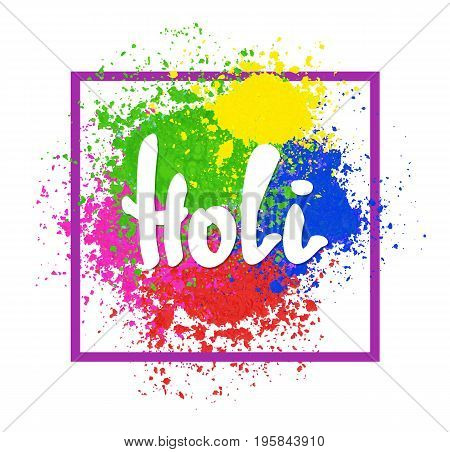 Vector bright colorful banner with powder splashes. Colorful Happy Holi background. Abstract Holi powder texture. Rainbow colored banner design.