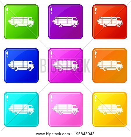 Log truck with the pile of logs icons of 9 color set isolated vector illustration