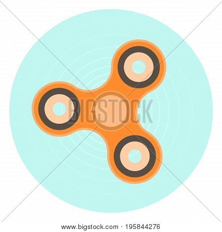 Flat vector orange hand spinner icon. Fashion antistress toy symbol for design badges labels banners logotypes