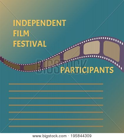 Film festival poster with cinema tape symbol on blue sky background. Nice banner design for your event
