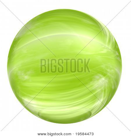 3d green glass sphere isolated on white background. It is a sphere reflecting a  sky with clouds