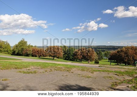 Trees during the Indian Summer in Montmorency Park, Quebec, Canada