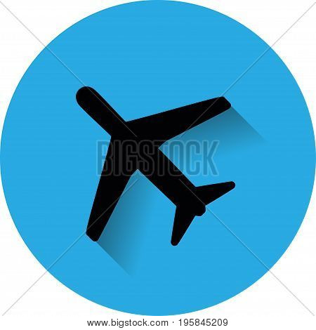 Icon flying plane on a white background