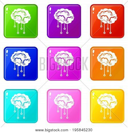 Sensors on human brain icons of 9 color set isolated vector illustration