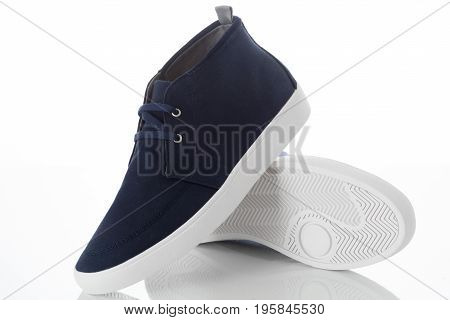 Pair of blue fashion men's shoes with side view profile Isolated on white background Men's Fashion concept.