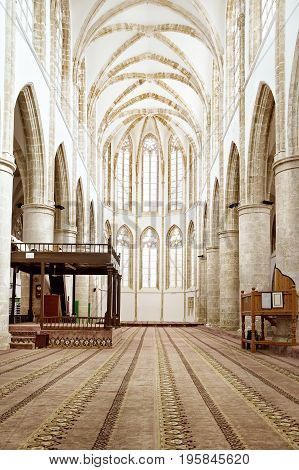Inside the mosque, Gothic St. Nicholas Cathedral in Famagusta, North Cyprus