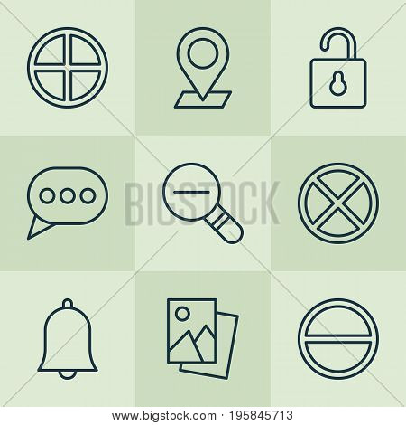 Icons Set. Collection Of Unlock, Message Bubble, Refuse And Other Elements