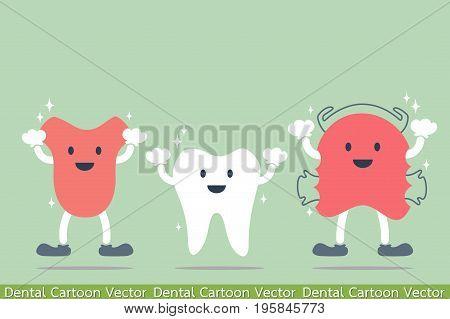 Happy Cartoon Dental - Tooth, Tongue And Teeth Retainer