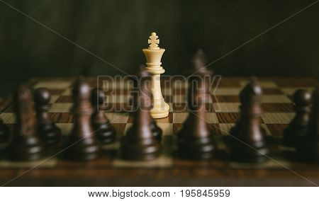 Chess Game The Only One White King Fight With Black Chess