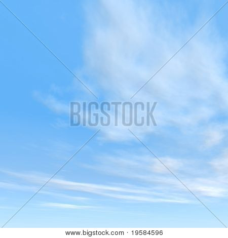 high resolution 3d blue sky square  background with white clouds