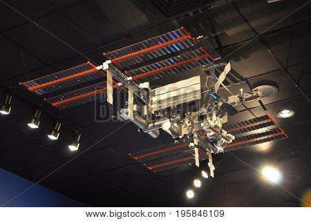 FLORIDA, USA - DEC 20, 2010: International Space Station ISS Model in the John F. Kennedy Space Center in Florida, USA.