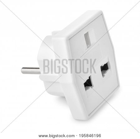 White plastic power adapter isolated on white