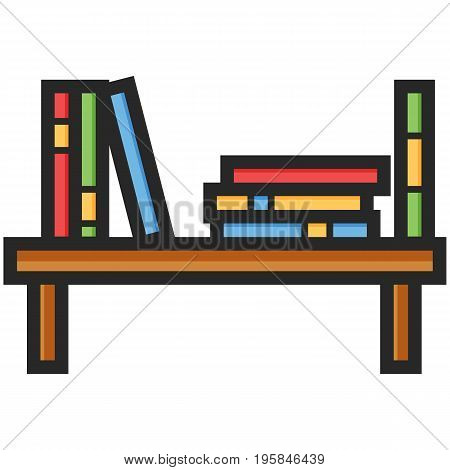 Simple Vector Icon of a bookshelf in flat style. Pixel perfect. Basic education element. School and office tool. Back to college.