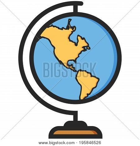 Simple Vector Icon of a classic school globe in flat style. Pixel perfect. Basic education element. School and office tool. Back to college.