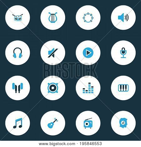 Audio Colorful Icons Set. Collection Of Mixer, Note, Speaker And Other Elements