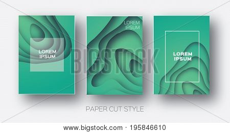 Paper Cut Wave Shapes. Layered curve Origami design for business presentations, flyers, posters. Set of 3 vertical banners. 3D abstract map carving. Text. Frame. Aquamarine Blue. Vector illustration