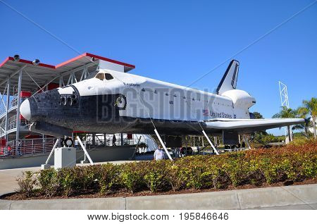 FLORIDA, USA - DEC 20, 2010: Space Shuttle Explorer, a life-size replica of the Space Shuttle at Kennedy Space Center in Cape Canaveral, Florida, USA.