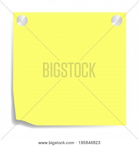 Yellow paper with shadow on a white background