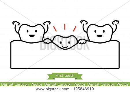 First Teeth Or Baby Tooth - Cartoon Vector Outline Style