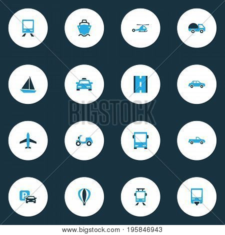 Transportation Colorful Icons Set. Collection Of Trolley, Aerostat, Sailboat And Other Elements