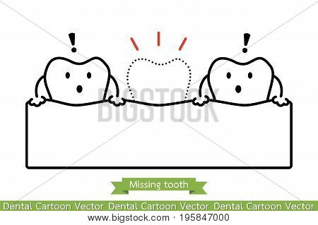 Missing Tooth - Cartoon Vector Outline Style