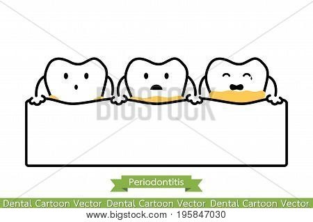 Dental Plaque Or Tartar - Cartoon Vector Outline Style